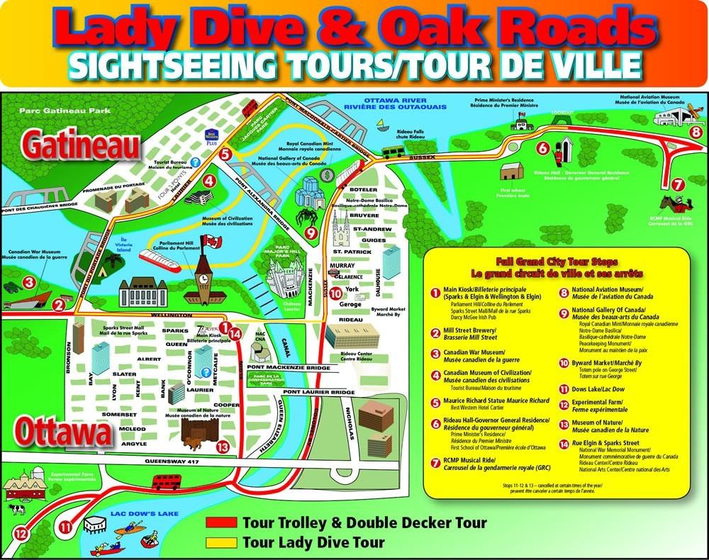 Lady Dive a& Oak Roads Amphibus tour map